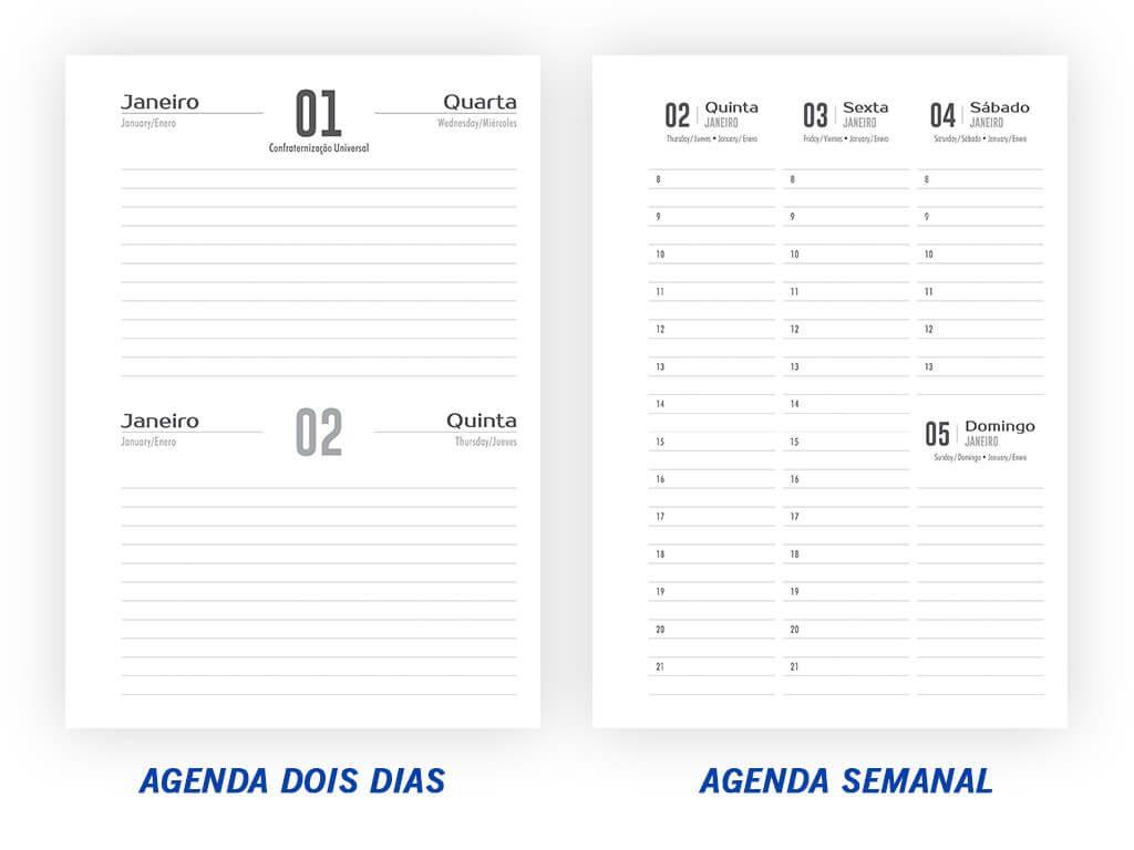 Agenda Dois Dias por Página e Agenda Semanal l Gráfica Cartão de Visita